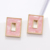 Simple Fashion Hollow Out Pink Custom Jewelry Acetate Alloy Luxury Stud Earrings