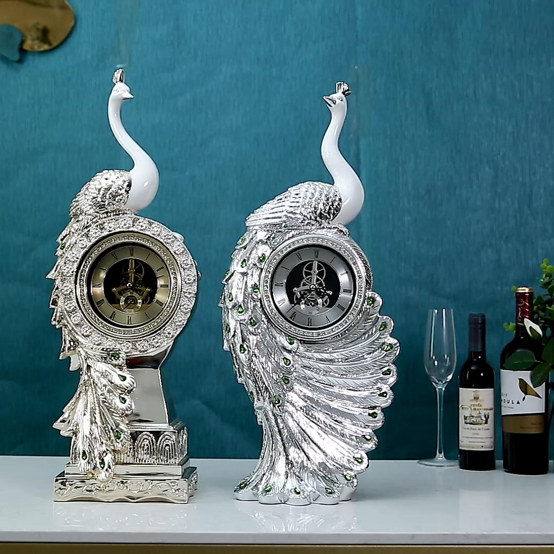 Modern design table resin peacock animal shape statue alarm clock for home decor