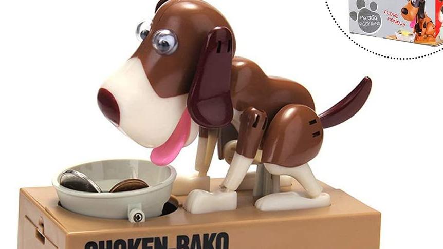 Perro Piggy Banco lindo perros roba monedas como moneda mágica Banco comiendo juguete caja de dinero perrito banco de moneda