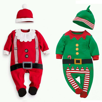 Plus Size Baby Clothes Girl Christmas Baby Rompers Long Sleeve Long Leg Baby 100% Cotton Newborn Rompers