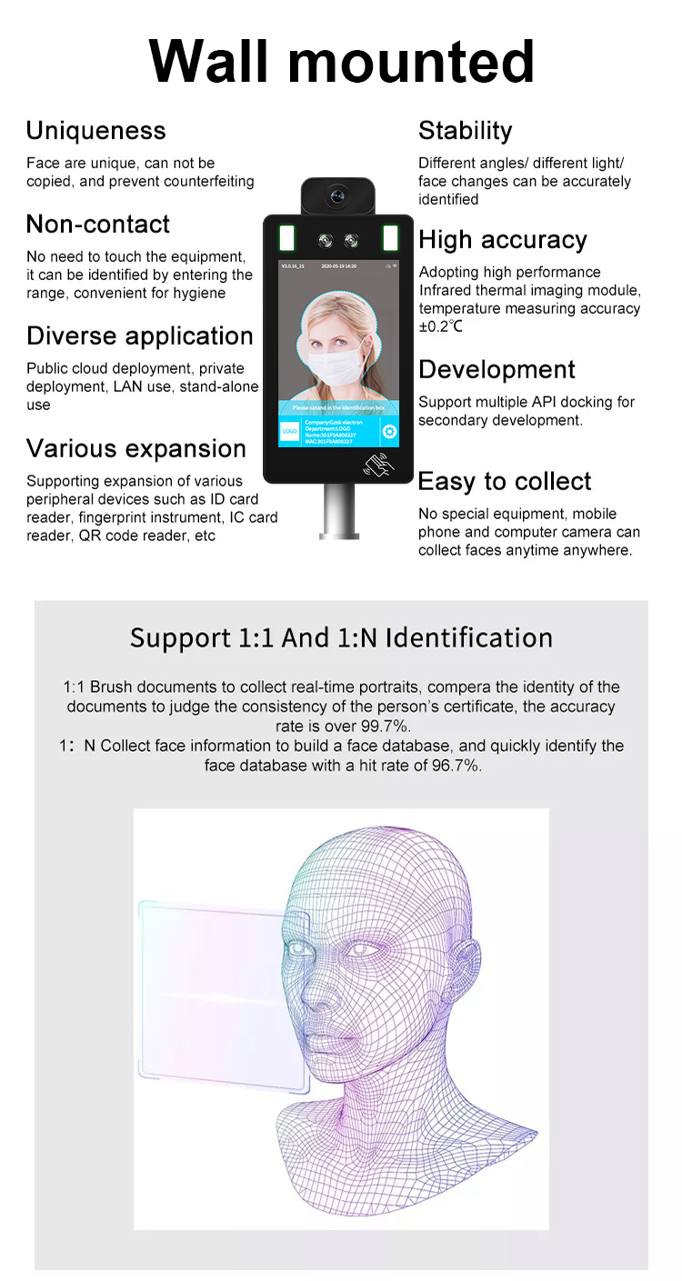 time attendance fever alarm body measuring device for access control AI face recognition temperature thermal scanner