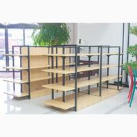 Double Sided Adjustable Retail Store/Book Store Wood Rack Display Shelves with End Shelf