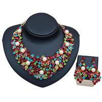 LAN PALACE new arrivals colorful necklace jewelry set simulated pearl necklace and earrings for wedding