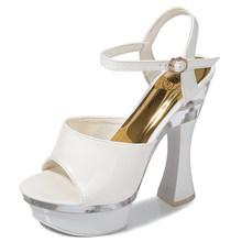 Туфли на высоком каблуке 14 см; Открытые Босоножки на каблуке-рюмочке с открытым носком; Прозрачные вечерние туфли для ночного клуба, подходя...(Китай)