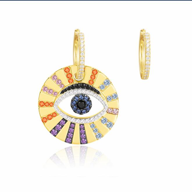 OB Jewelry-Gold Plated Asymmetric Earrings Copper Or Silver Hoop Jewelry POP Colorful Lucky Eye Earrings For Ladies