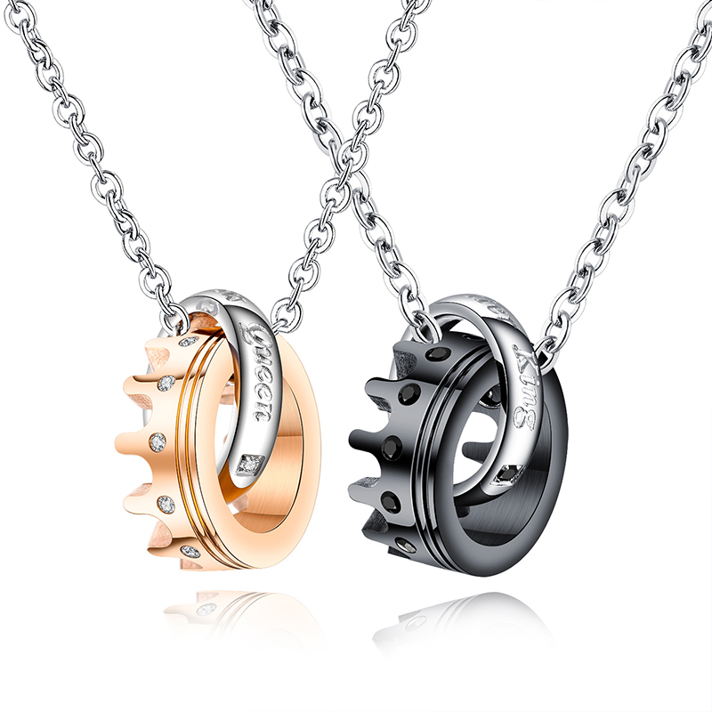 <strong>Fashion</strong> Black/Rose Gold Her Queen Her King Crown Couple Necklaces 316L Stainless Steel Pendant Necklace (KSS220)