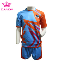 Top quality customized men short sleeve 100% polyester sublimation soccer team uniform
