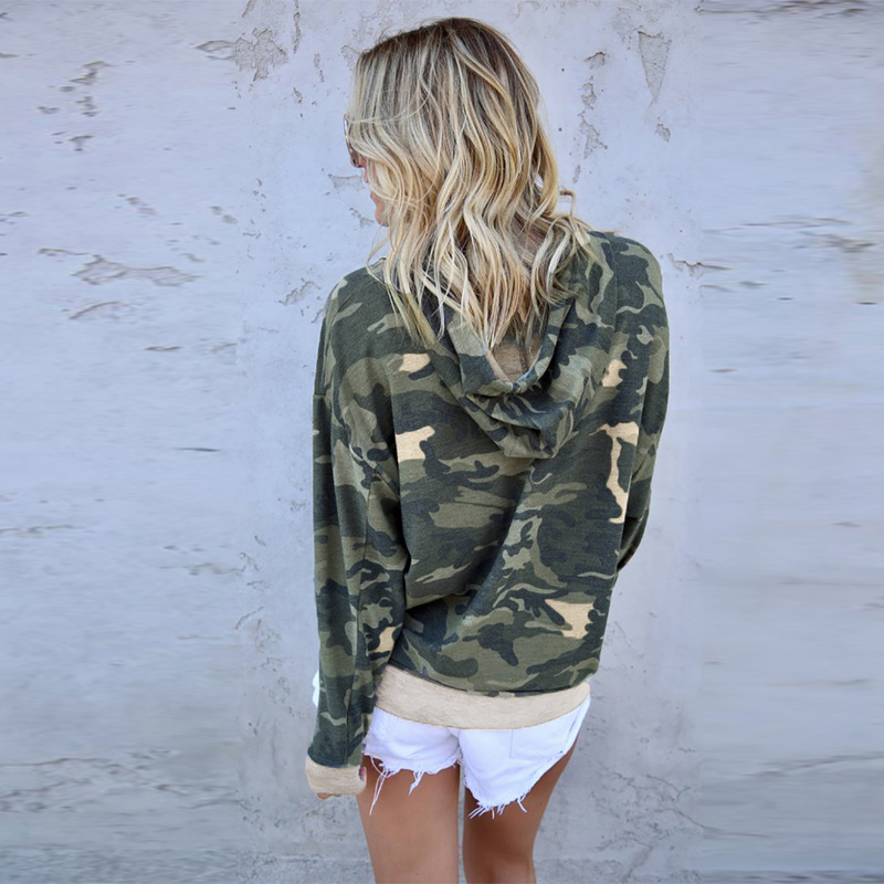 New Arrival Green Camo Print Pullover Women Hoodie