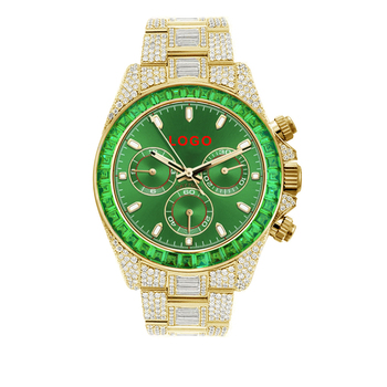 OEM Role Green Baguette Diamond 18K Gold Luminous Water Proof Analog Chronograph Custom Logo Watch Men Luxury