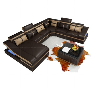 Fashion U shaped Leather sofa set 7 seater lounge furniture sofas sectionals loveseats Velvet Royal Sofa Set