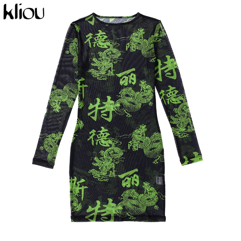 Kliou женское сексуальное прозрачное Сетчатое платье, уличная мода, принт с персонажами, тонкое мини платье, весна 2020, новинка, одежда для бара ...(Китай)