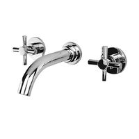 Brass luxury bathroom accessories three piece wall mounted wash basin faucet,Factory direct sale