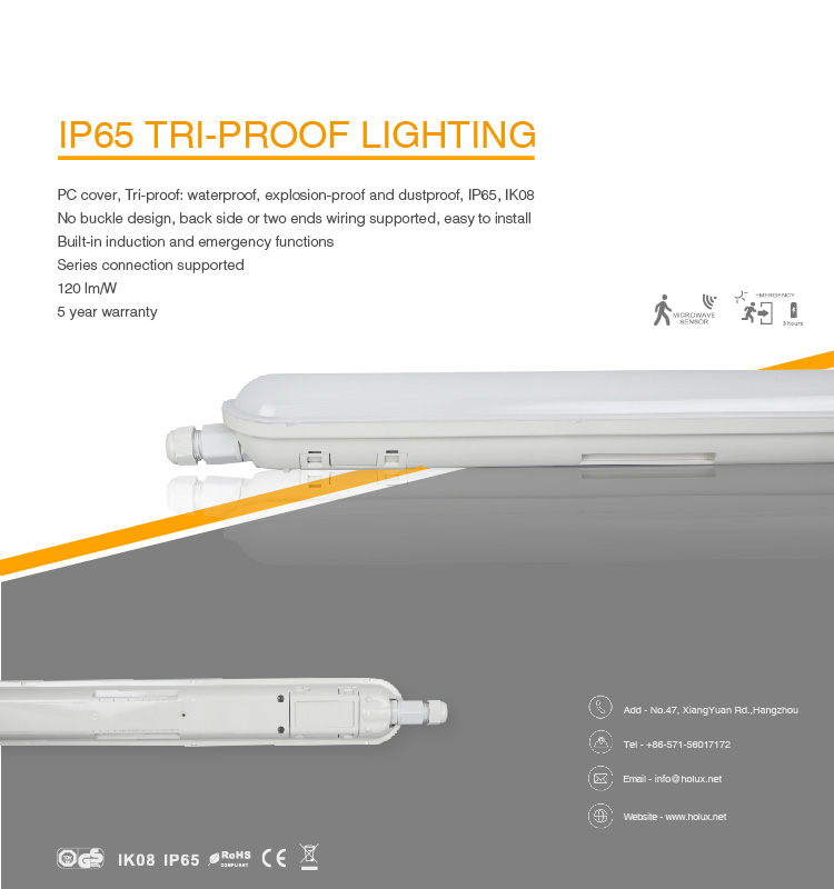 IP65 IK08 TUV CE GS waterproof tri-proof fixture led garage light