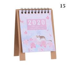1 шт. ручной рисунок 2020 Fresh Cartoon Mini Flamingo, настольный бумажный календарь, ежедневный планировщик стола, органайзер для годовой программы(Китай)