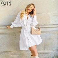 OOTN Women Loose Button Spring Summer Dress Asymmetrical 2020 Casual Office Cotton Dress Batwing Sleeve White Shirt Dress