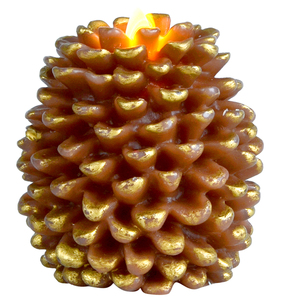 Pine Cone Flameless Flickering fake Candles with Remote and Timer