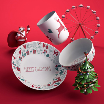 Custom Printing Bamboo Fiber Merry Christmas Design Dinnerware Sets