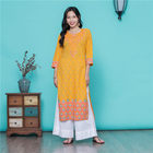 indian saree Yellow Embroidery Pure Cotton Hot drilling Thin Section Muslim Women's Robe Set kurtis indian