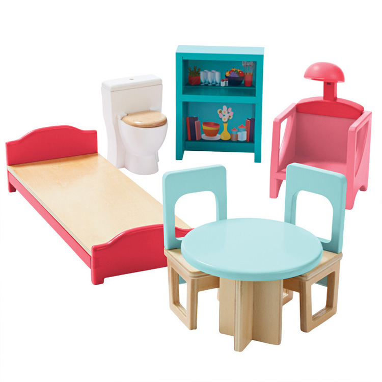 Children Whole Set Wood Pink Furniture Doll House Toys/ Kids Girls Birthday Gifts Of Wooden Kitchen Bathroom Bedroom Toy