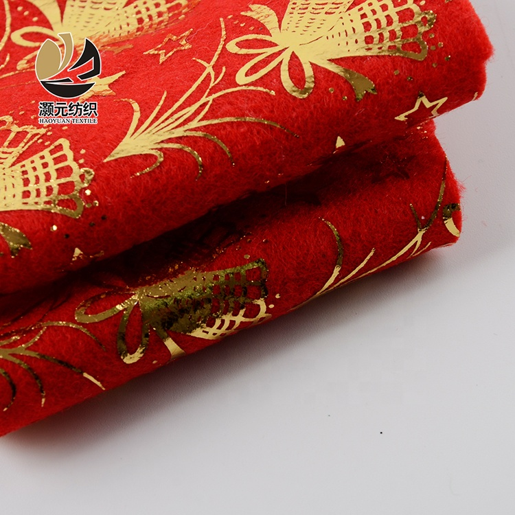 breathable fancy design gold shining printed small bell foil knitted fabric south korea for garment
