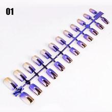 24 шт одноцветные зеркальные накладные ногти-стилеты для ногтей хромированная живопись полное покрытие длинные кончики для ногтей украшени...(Китай)