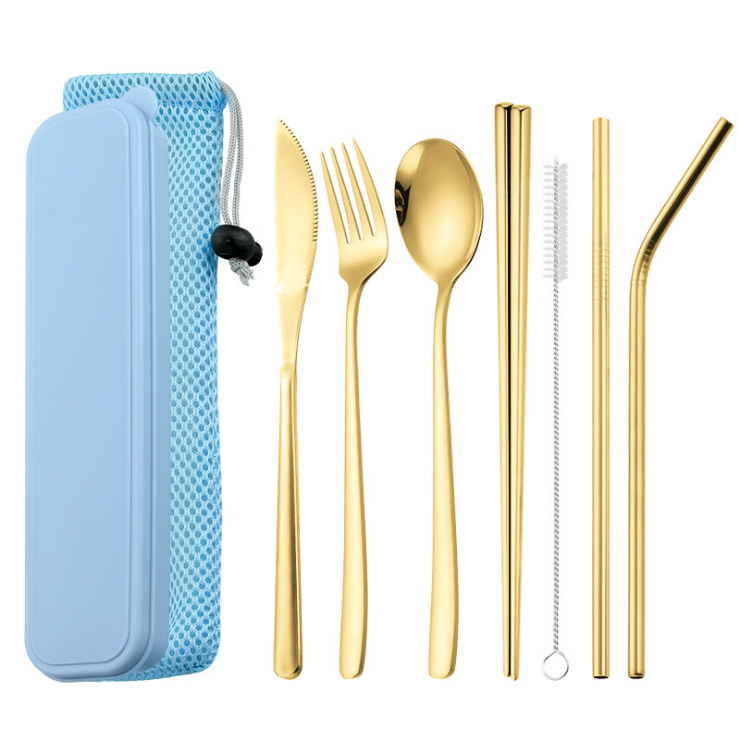 Stainless Steel Gold Titanium Travel Camping Cutlery Straw <strong>Set</strong> in Case