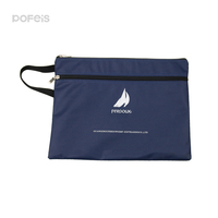 make in China low price PU leather file bag dark blue zipper document holder