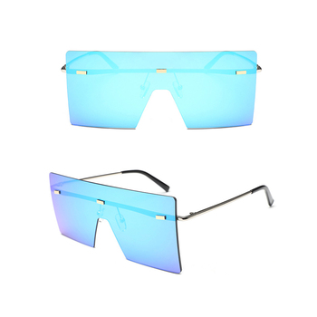 New Trendy Personalized UV400 One Piece Big Lens Square Oversized Rimless Sunglasses