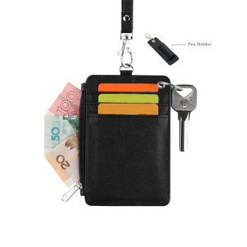 Leather Badge Card Holder Zipper Purse Coin Wallet with Pen Loop Key Ring for Offices School ID