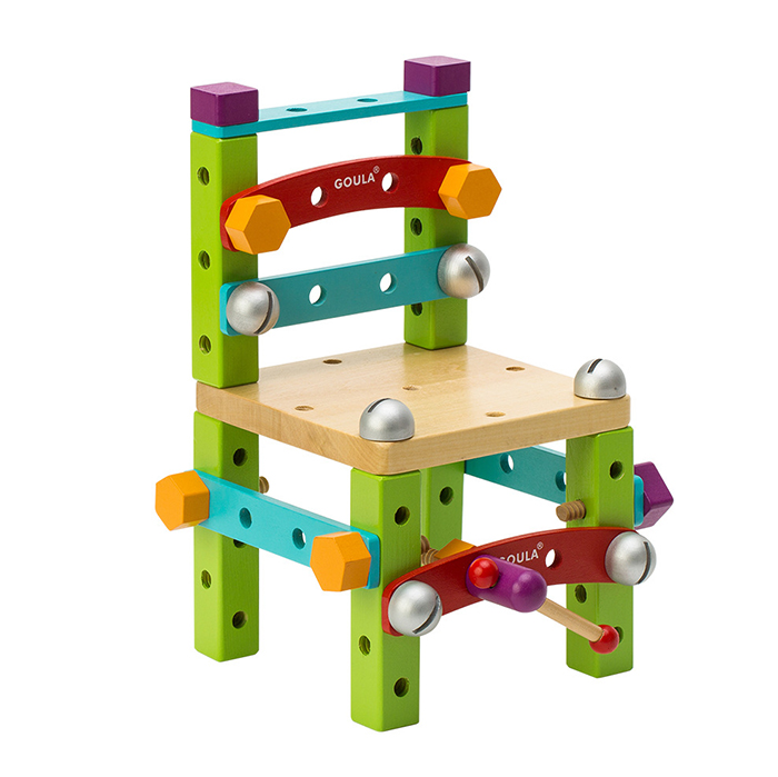 2020 Kids Educational DIY Assembly Wooden Blocks Tools Chair Toy