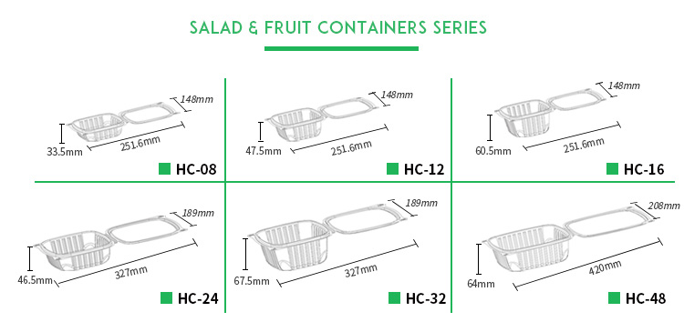 Hinged lid disposable fresh cut fruit pet container plastic box