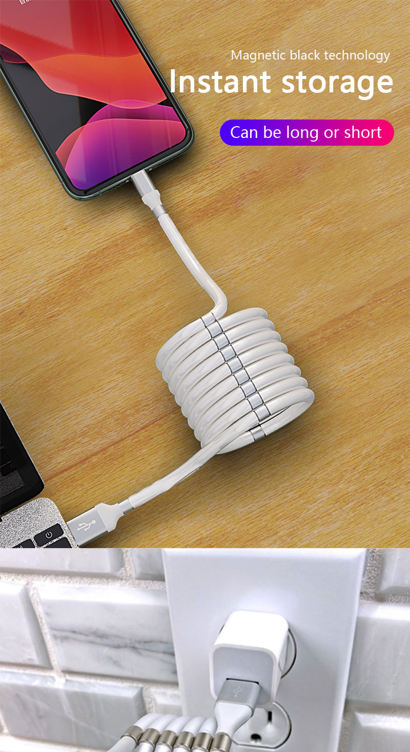 2020 New Self Winding USB Charging Cable for iPhone Type c Micro Super Magnetic Charging Cable
