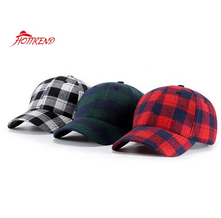Cotton brushed plaid baseball hat with buckle back closure