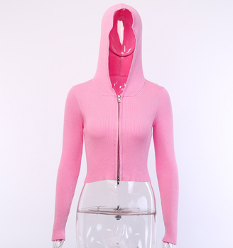 X89938B wholesale zipper up women sexy pink hoodie cardigans