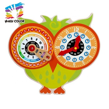 Wholesale owl pattern early learning wooden clock toy for kids W09F004