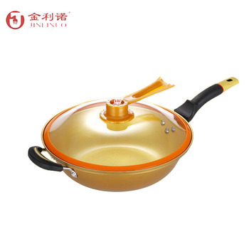 New model vacuum cover die-cast aluminum golden wok Multifunction frying pan