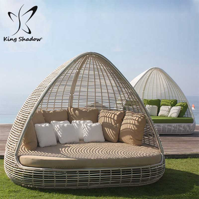 Al aire libre muebles de mimbre al aire libre tumbona con al aire libre sofá-cama con dosel
