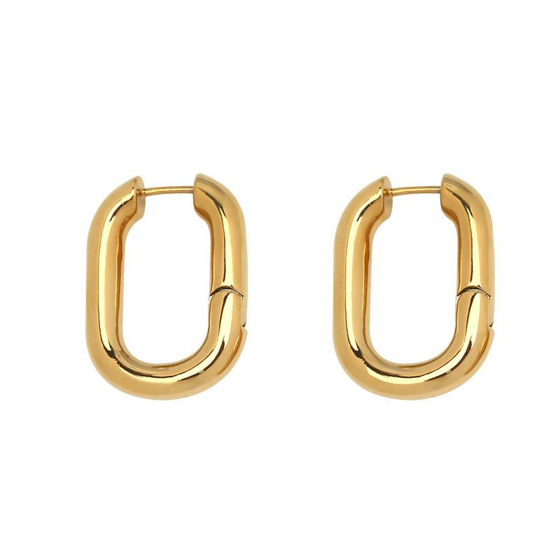 패션 디자이너 스퀘어 구리 후프 귀걸이 18k 진짜 골드 도금 모양 타원형 금속 여성 귀걸이