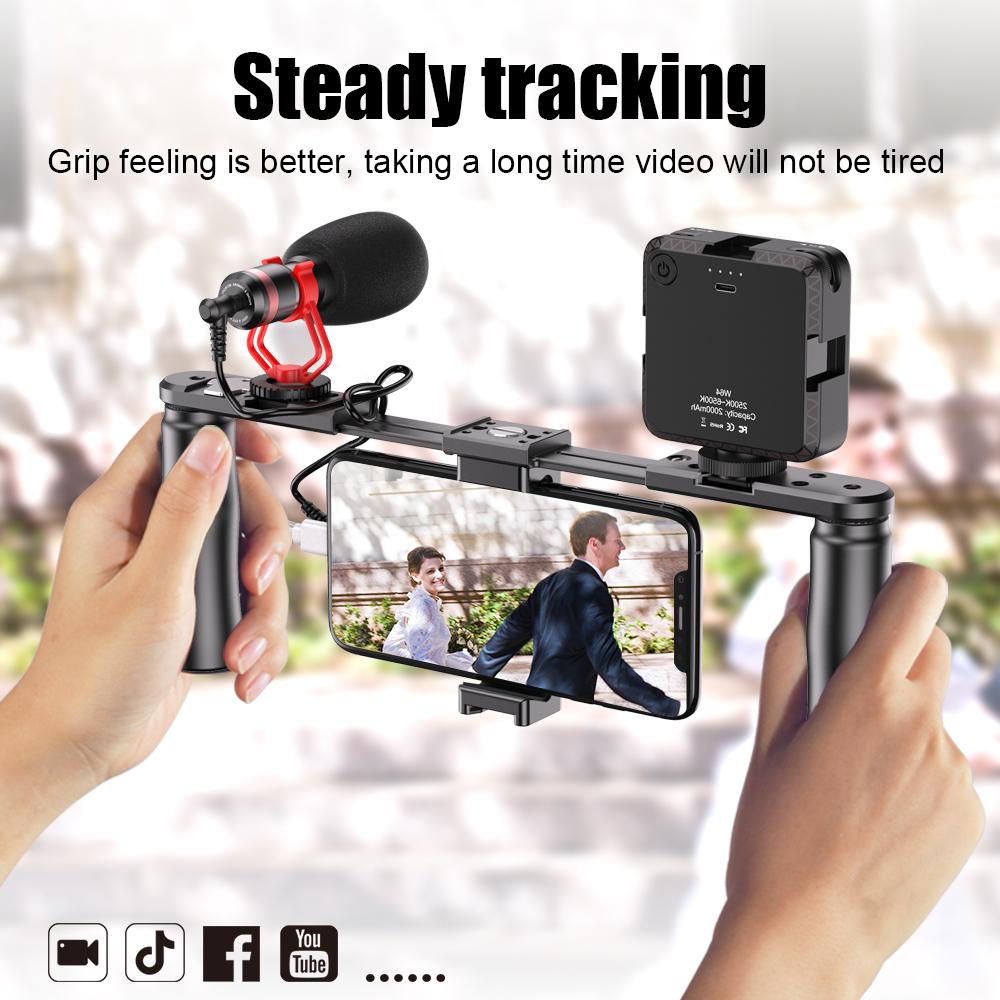 Apexel Smartphone Video Rig Film Maker Two Grip Handle Stabilizer Kit Fit for LED Light Shotgun Microphone