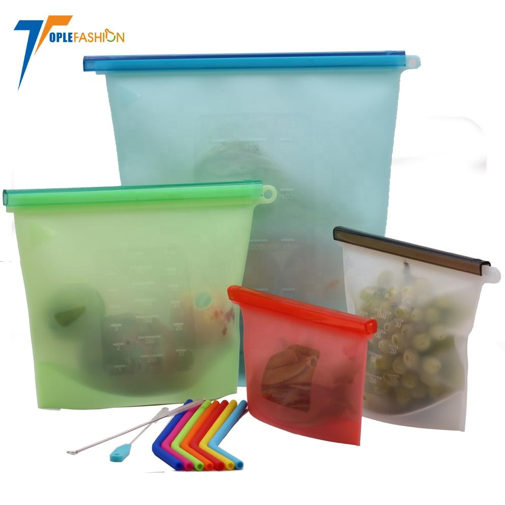 Récipient de conservation polyvalent réutilisable bon marché réfrigérer le sac de stockage de nourriture de silicone
