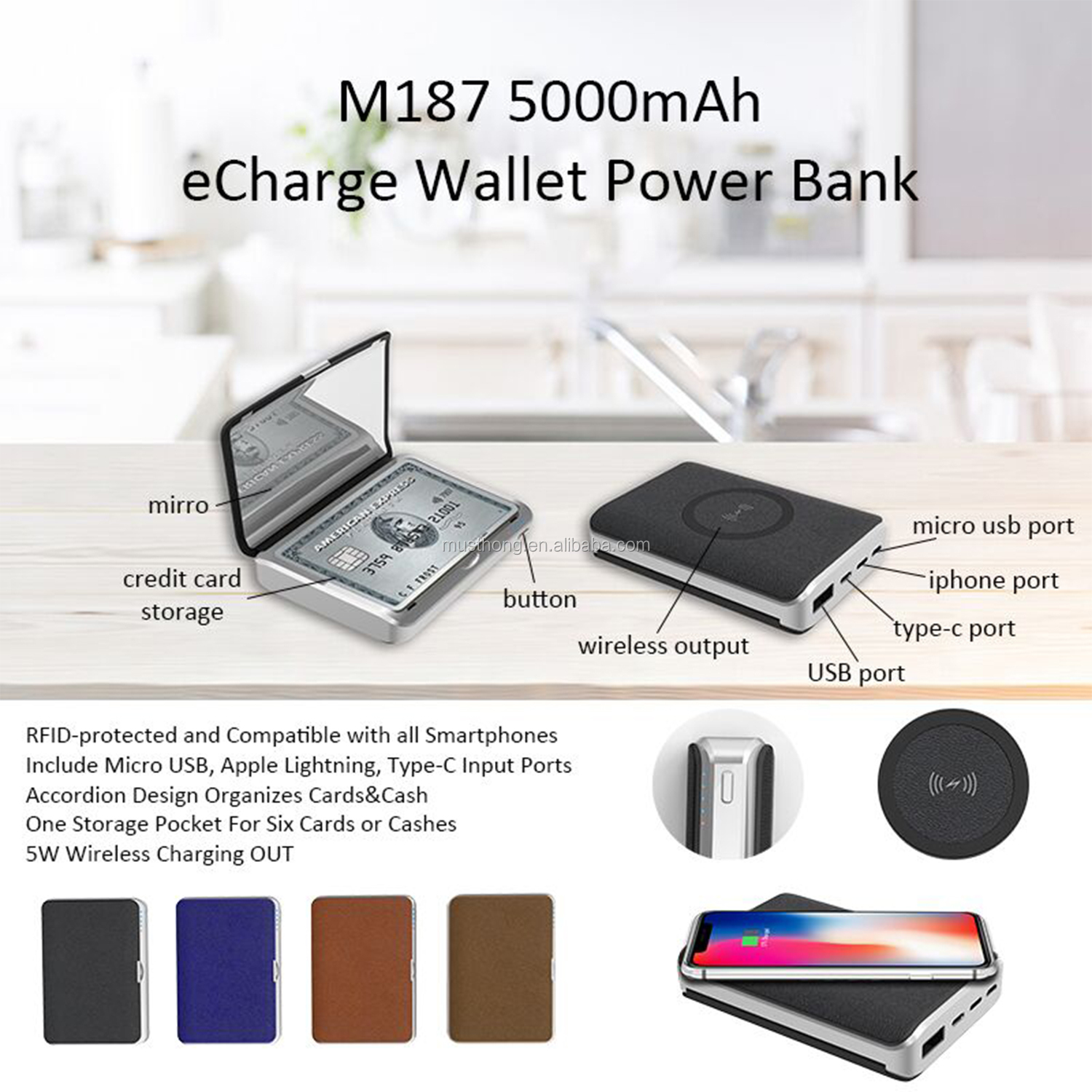 5000mAh Compact Mirror Wireless Charger Power Bank 3X Magnifying for Travel Face Beauty Makeup Use with Card Storage Box