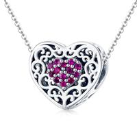 DIY love gift pink silver heart shape bead for clavicle necklace pendant