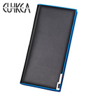 CUIKCA Long Leather Wallet For Men H035 Blue Edge Iron Included Angle Purse Photocards Wallets Slim Card Holder