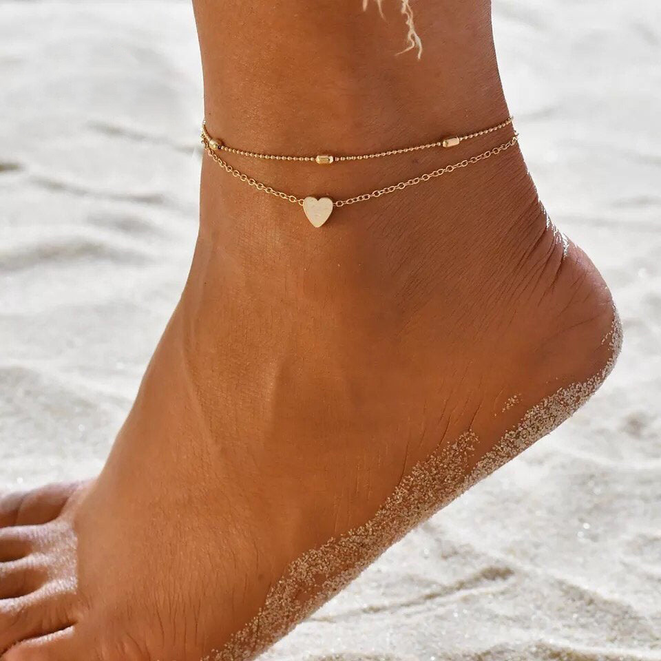 Ruigang 2020 Summer Gold Chain Sandal Barefoot Foot Jewelry Layered Anklets Heart Beaded Anklet Bracelet