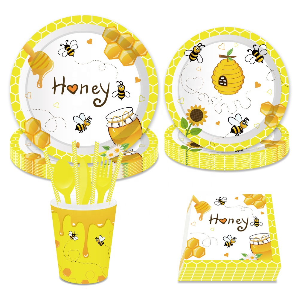 MM036 Bee theme party Tableware set for 8 people insect cute party supplies for kids birthday just designed in July