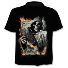 Мужская футболка с 3d-черепом, футболка с коротким рукавом в японском стиле, готика, панк-рок, лето 2019(Китай)