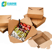 Original Color Fast Food Take Away Biodegradable Container Recycle Kraft Food Packaging Paper