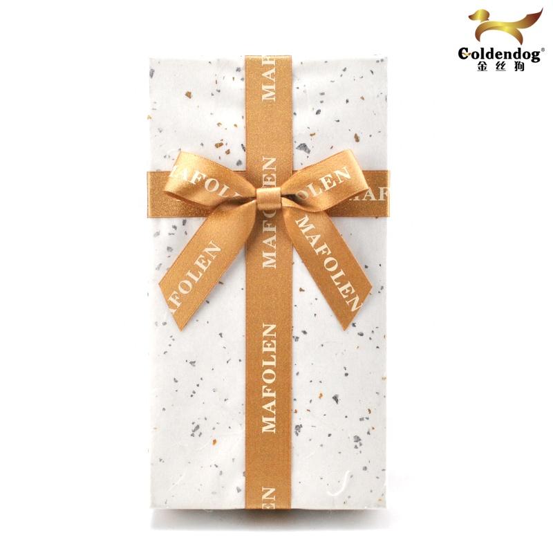 Customized Gift Box Decorative With Silkscreen Logo Printed Gold Silver Metallic Satin Wholesale Ribbon Bow