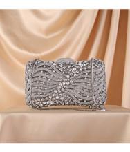 Женский вечерний клатч с золотым цветком и кристаллами, мини-сумка для свадебной вечеринки, Коктейльная Сумочка с бриллиантами, серебряная ...(Китай)