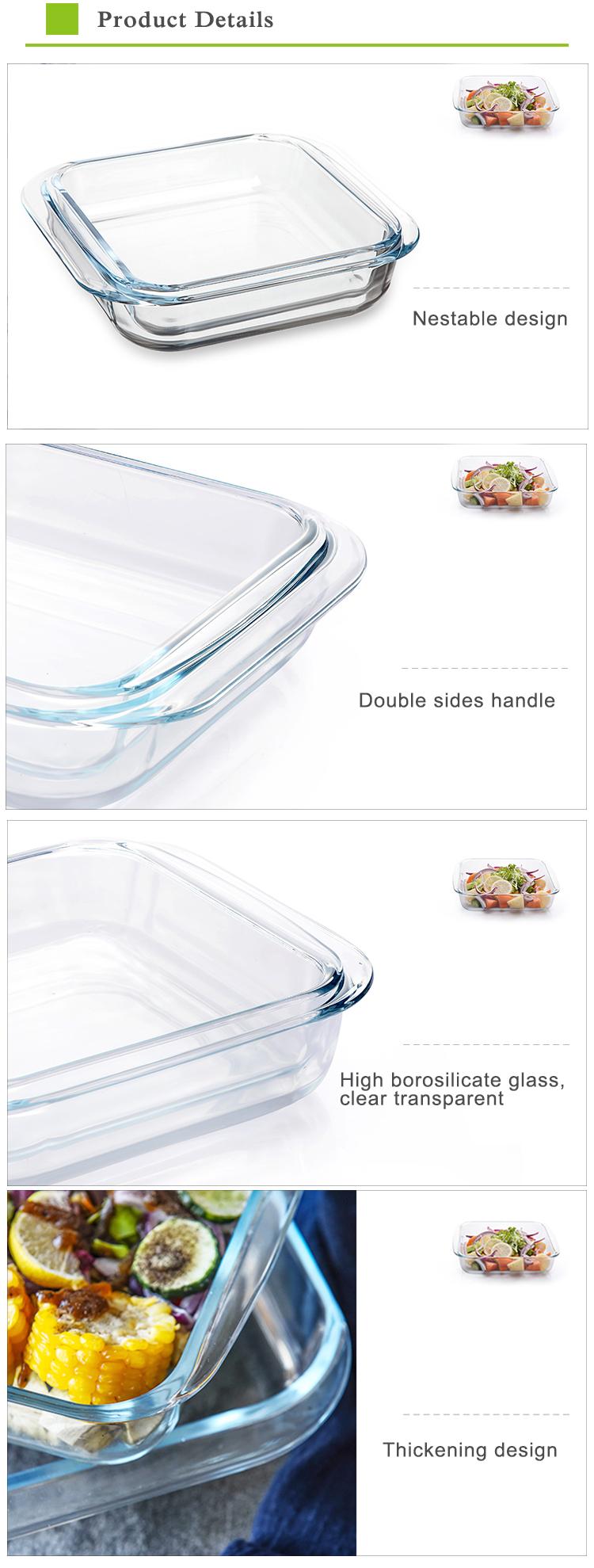 China factory wholesale oven safe high borosilicate baking dish glass square bake pan